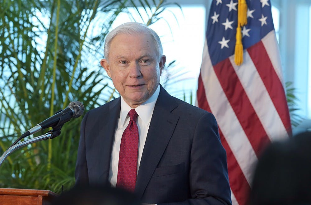 <p>Attorney General Jeff Sessions speaks at Port of Miami Terminal E on Aug. 16. In a letter delivered to the White House, Sessions wrote that he was submitting his resignation at the request of Trump, who has been highly critical of his attorney general since he recused himself last year from overseeing investigation into Russia's interference in the 2016 election.</p>