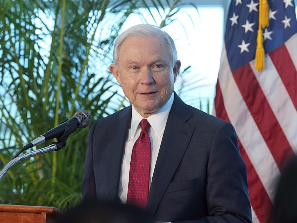 Attorney General Jeff Sessions speaks at Port of Miami Terminal E on Aug. 16. In a letter delivered to the White House, Sessions wrote that he was submitting his resignation at the request of Trump, who has been highly critical of his attorney general since he recused himself last year from overseeing investigation into Russia's interference in the 2016 election.