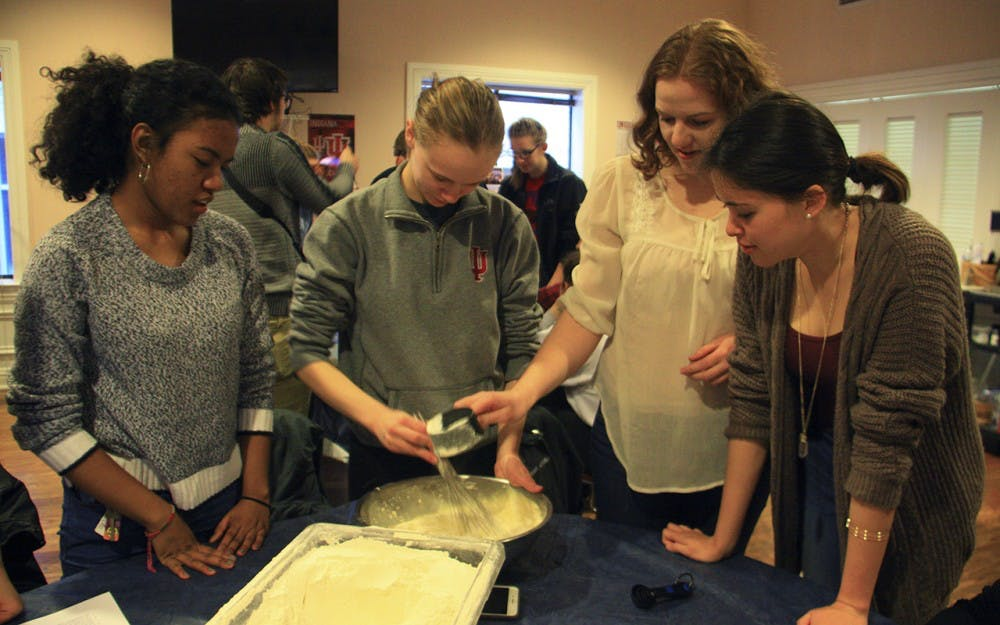 Helene G. Simon Hillel Center is making challah bread for fundraising and all the proceeds go to charity. Kiara Fite, Maggie Anderson, Bridget Caraher and Alivia Pavich, from left to right, were helping Hillel at IU in making the bread on Thursday evening.