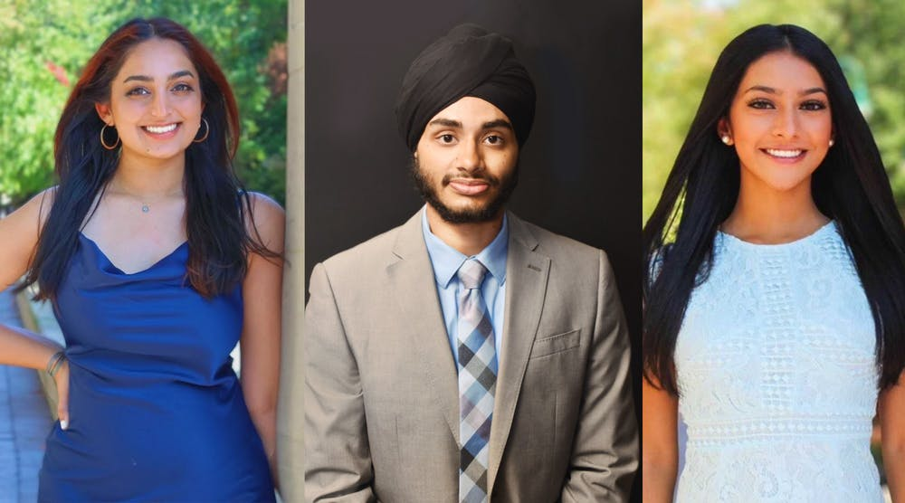 <p>Junior Ravleen Ahuja, senior Simran Darar and sophomore Taveen Saran each pose for a separate headshot. Sikh students spoke about their emotions following the Indianapolis shooting where four Sikh people were killed. </p>