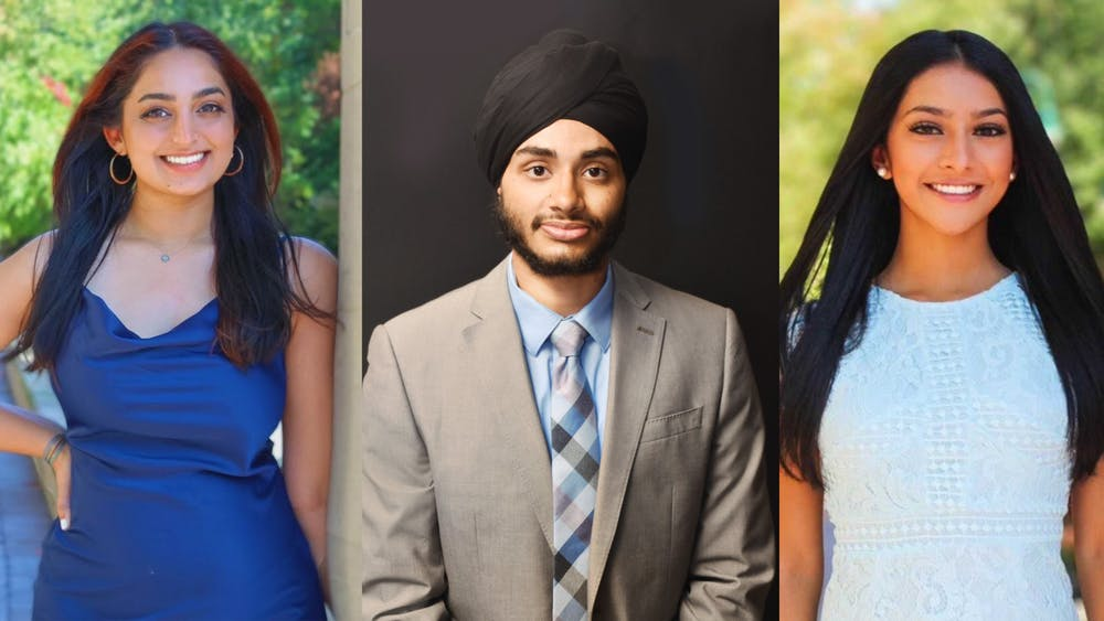 Junior Ravleen Ahuja, senior Simran Darar and sophomore Taveen Saran each pose for a separate headshot. Sikh students spoke about their emotions following the Indianapolis shooting where four Sikh people were killed.