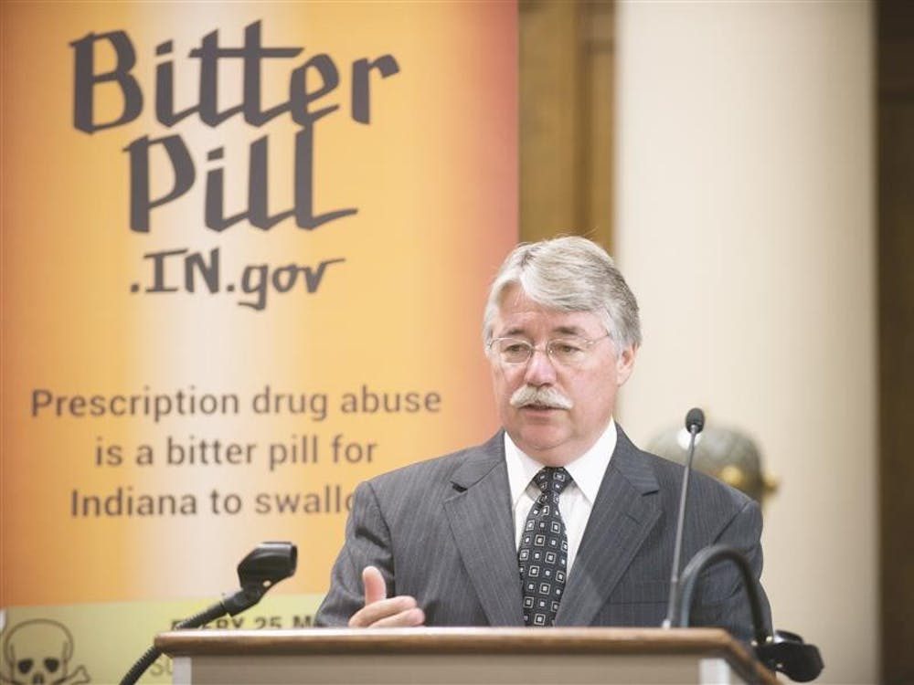 Attorney General Greg Zoeller speaks about an awareness campaign on Aug. 26, 2013, at the Monroe County Courthouse. Zoeller announced a new coalition to fight corruption on Tuesday.