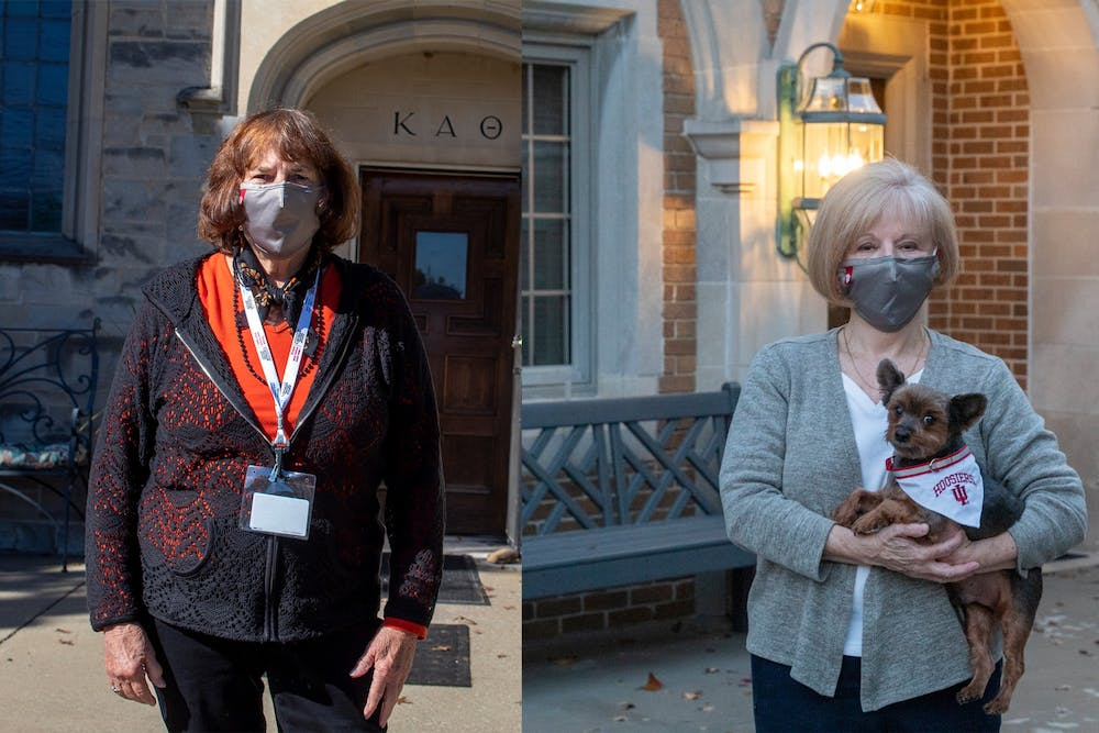 <p>Jeanie VanMeter, Kappa Alpha Theta&#x27;s house director, left, and Isabel Perry, Kappa Kappa Gamma&#x27;s house director alongside her dog Gizzy, right, stand for separate headshots in front of their respective houses. Sorority house directors lived alongside the residents who stayed in the houses during the quarantines. </p>
