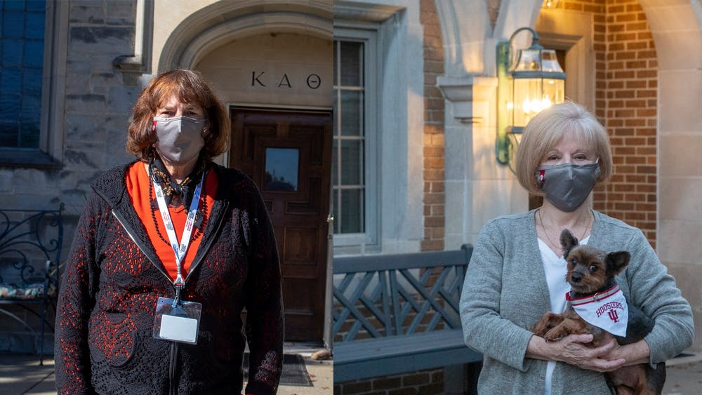 Jeanie VanMeter, Kappa Alpha Theta's house director, left, and Isabel Perry, Kappa Kappa Gamma's house director alongside her dog Gizzy, right, stand for separate headshots in front of their respective houses. Sorority house directors lived alongside the residents who stayed in the houses during the quarantines.