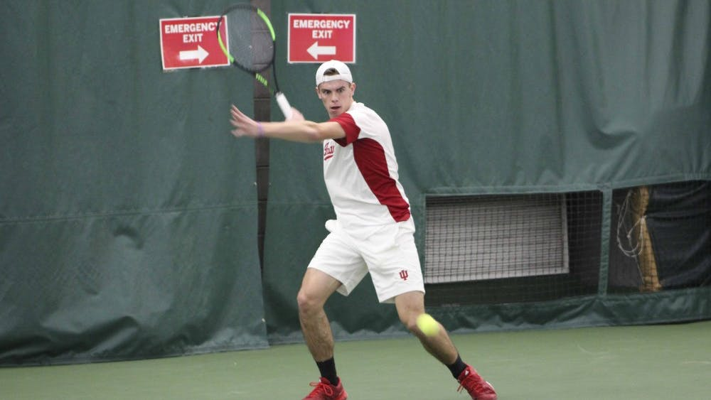 Then-sophomore Oliver Sec, now a junior, returns a shot in his singles match against Princeton during the 2017 season. IU defeated Purdue, 5-0, in West Lafayette Wednesday.
