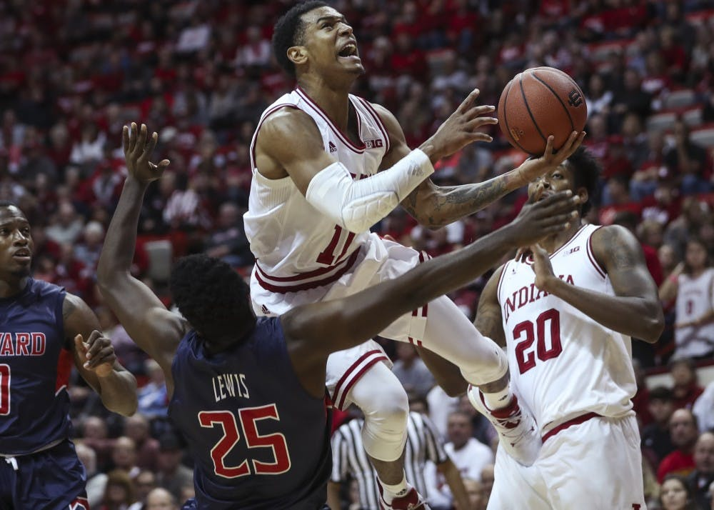 <p>Sophomore guard Devonte Green attempts a layup during Indiana's game against Howard University on Sunday. The Hoosiers' beat Howard 86-77.&nbsp;</p>