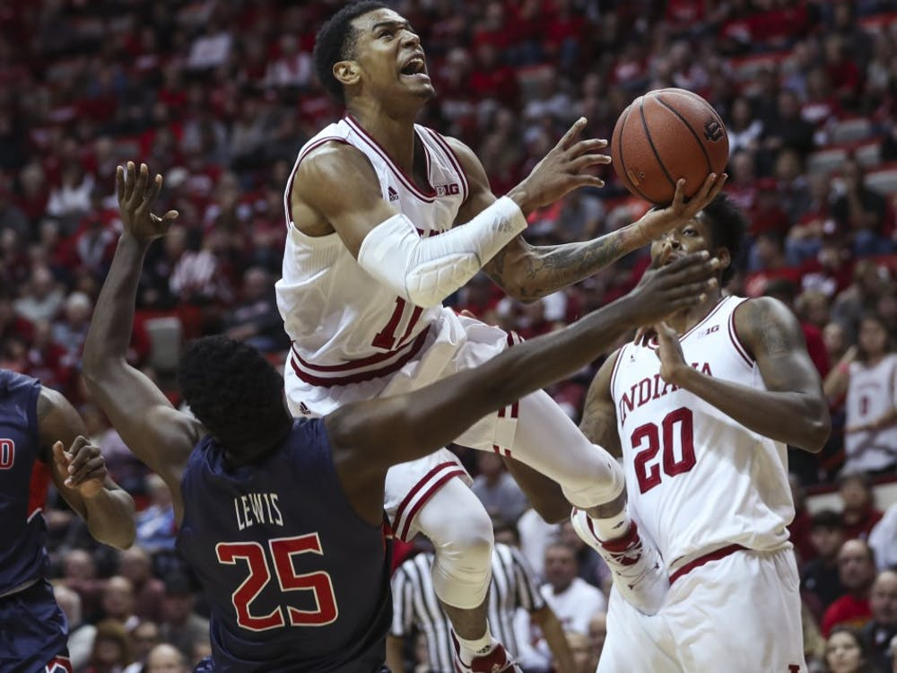 Sophomore guard Devonte Green attempts a layup during Indiana's game against Howard University on Sunday. The Hoosiers' beat Howard 86-77.