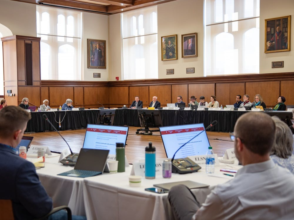 The Bloomington Faculty Council meets March 3, 2020, in Franklin Hall. The BFC is considering a proposal to add more options for academic misconduct appeals.