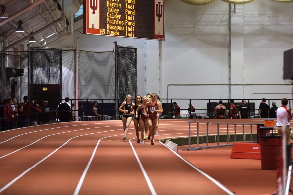 <p>The women's track and field team competes in the mile at IU's dual meet against Purdue Saturday, Jan. 14, 2017 in the Harry Gladstein Fieldhouse. Kendell Wiles finished second in the 800-meter race at this year's Big Ten Outdoor Track and Field Championships.</p>