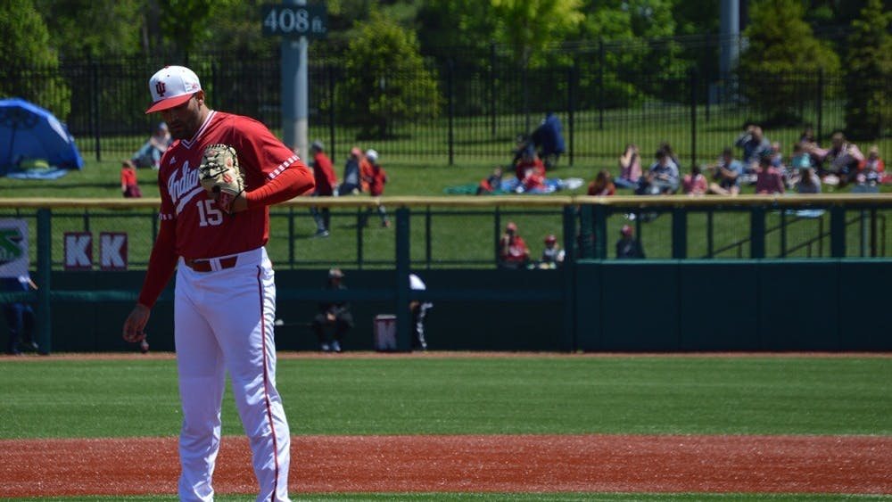 Then-sophomore, now-senior Pauly Milto pitches for IU against Xavier during the 2017 season. Milto earned a victory during yesterday's IU doubleheader against Butler.