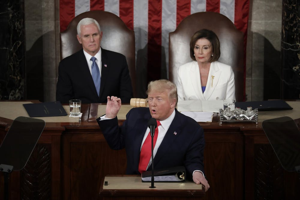 <p>U.S. President Donald Trump delivers the State of the Union Address to a joint session of the U.S. Congress on Capitol Hill Feb. 4 in Washington, D.C. </p>