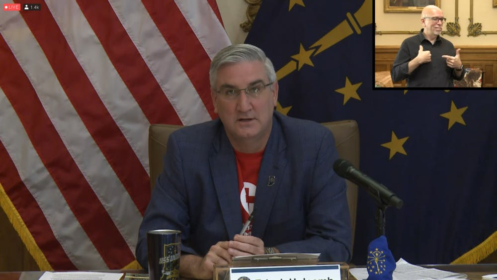 <p>Indiana Gov. Eric Holcomb speaks Sept. 23 during a livestreamed meeting. Holcomb announced the state will move forward to Stage 5 of the Back on Track reopening plan Sept. 26.</p>