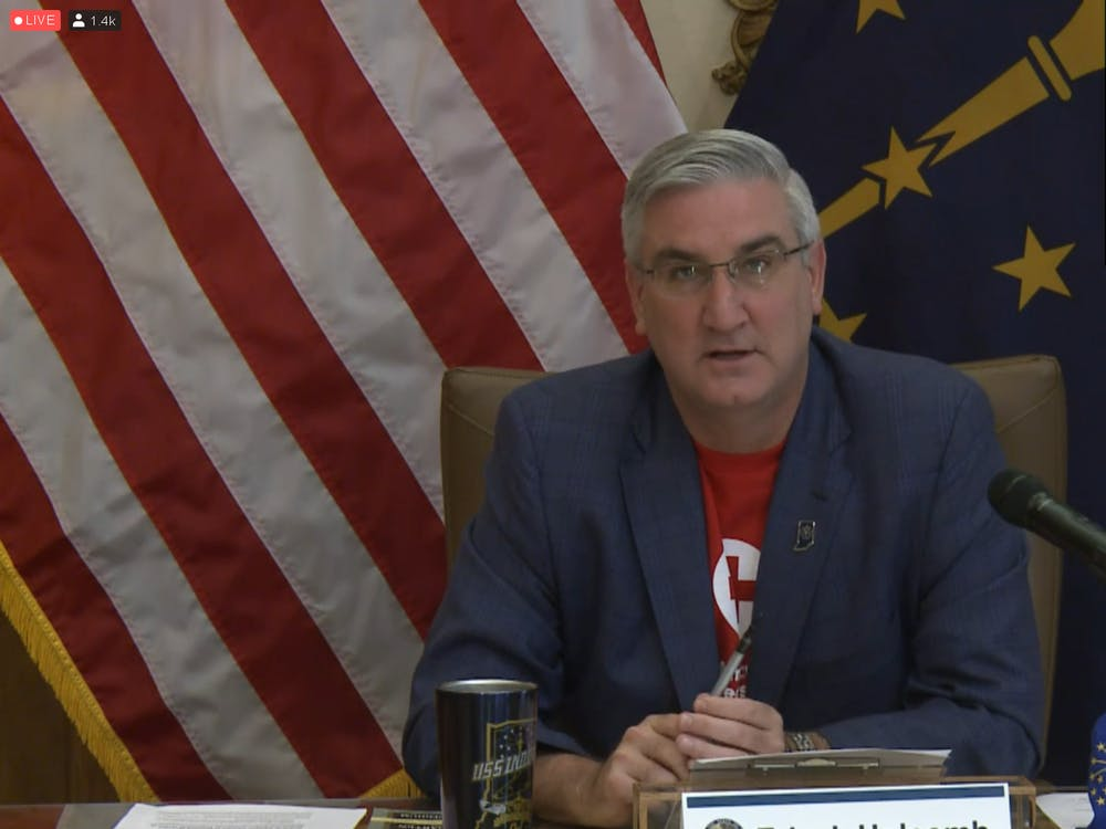 Indiana Gov. Eric Holcomb speaks Sept. 23 during a livestreamed meeting. Holcomb announced the state will move forward to Stage 5 of the Back on Track reopening plan Sept. 26.