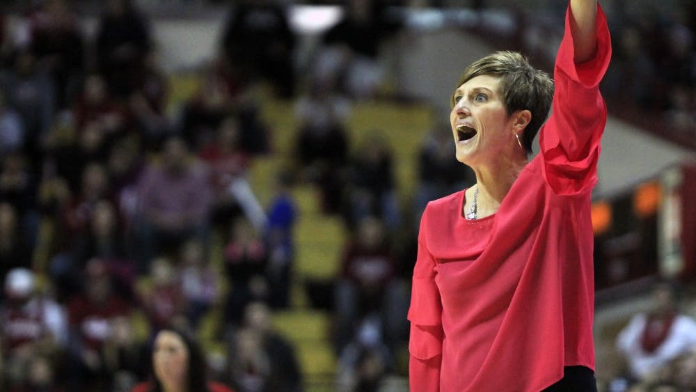 IU women's basketball Coach Teri Moren gives her team directions Feb. 17, 2018, in Simon Skjodt Assembly Hall. Moren had her 100th win with IU on Feb. 21, 2019, after the team defeated Iowa.