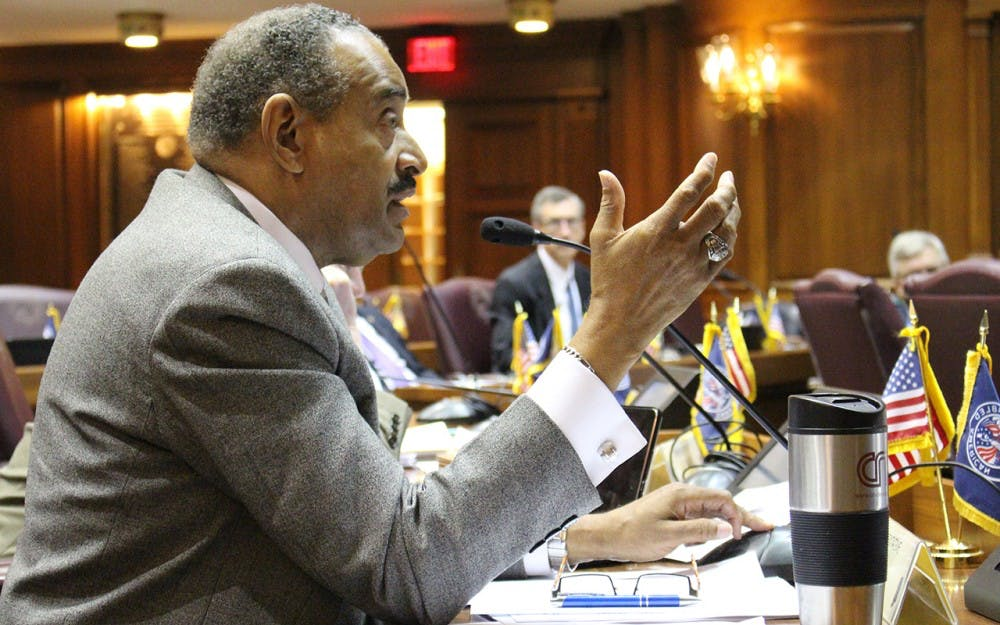 <p>Rep. Vernon Smith, D-Gary, questions testifiers of the&nbsp;Senate Bill 407&nbsp;at a House education committee hearing on Tuesday. The bill would&nbsp;require information regarding the number of teachers who participate in their school district's union to be published on the Indiana Education Employment Relations Board website.</p>