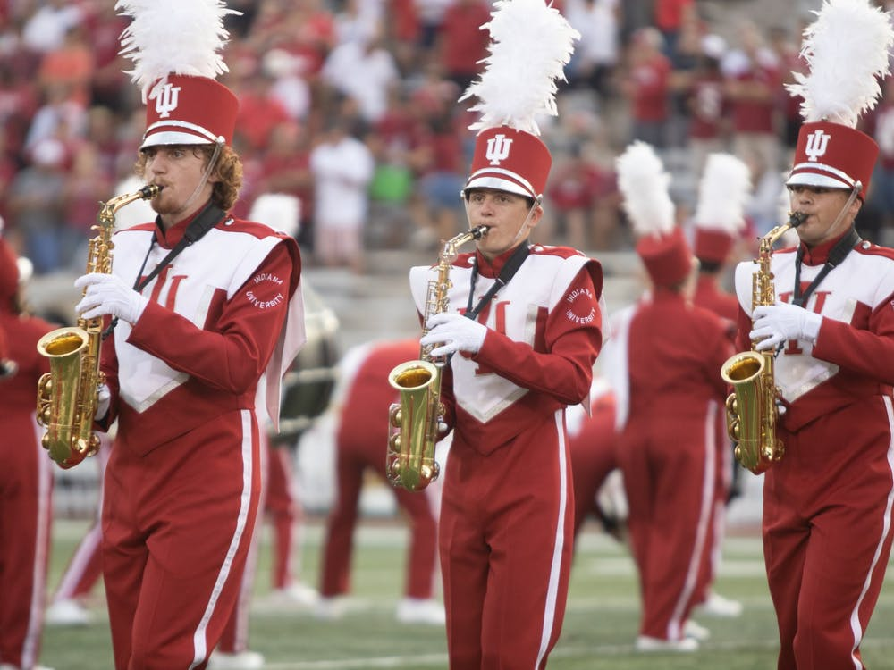 Marching Hundred saxophone players play during the pregame show prior to the start of the Indiana football game Sept. 11, 2021, at Memorial Stadium. Indiana defeated the University of Idaho 56-14.