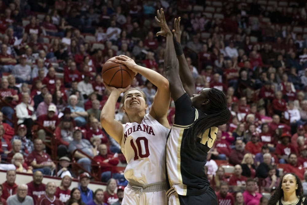 <p>Then-sophomore Aleksa Gulbe attempts a shot Jan. 9, 2020, against Purdue in Simon Skjodt Assembly Hall. Gulbe scored 10 points Thursday night against the Boilermakers. </p>