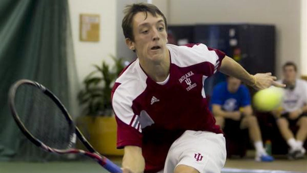 Then-sophomore Josh MacTaggart returns a shot from Kentucky's Alex Musialek on Jan. 25, 2011, at the IU Indoor Tennis Center. Although MacTaggart beat Musialek 2 sets to 1, the IU men's tennis team has not beaten the Wildcats since 2008, and have lost three straight in the series.