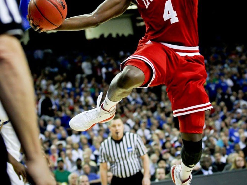 Victor Oladipo shoots a layup on March 23, 2012.