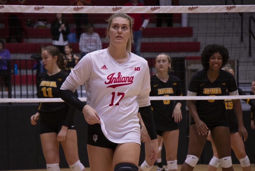 <p>Outside hitter Kendall Beerman returns to her position during the fifth set against Iowa on Oct. 26 at Wilkinson Hall. The IU volleyball team is back in action Wednesday against No. 16 Purdue. IU lost to Purdue in its first matchup of the season.</p>