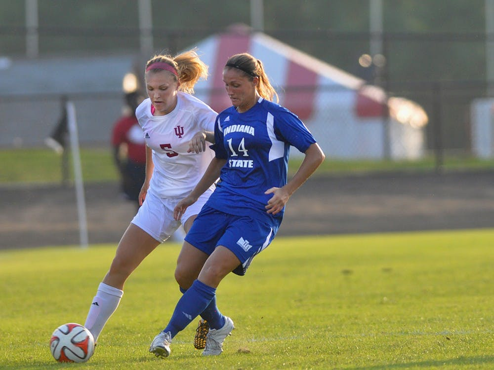 Redshirt sophomore defender Marissa Borschke fights to win the ball in a 2-0 win over Indiana State on Friday. In 2013, Borschke helped the Hoosier defense set a school record nine shutouts.