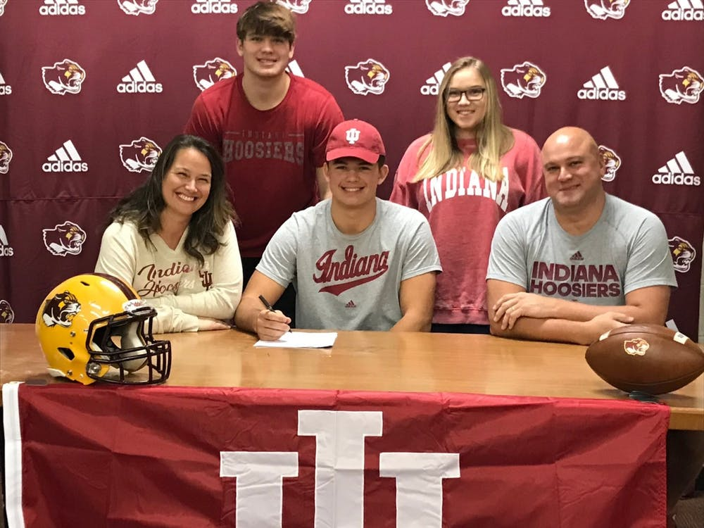 Freshman tight end Aaron Steinfeldt at his Letter of Intent signing day on Dec. 16, 2020, at Bloomington High School North. Steinfeldt was a three-sport athlete in high school before coming to Indiana.