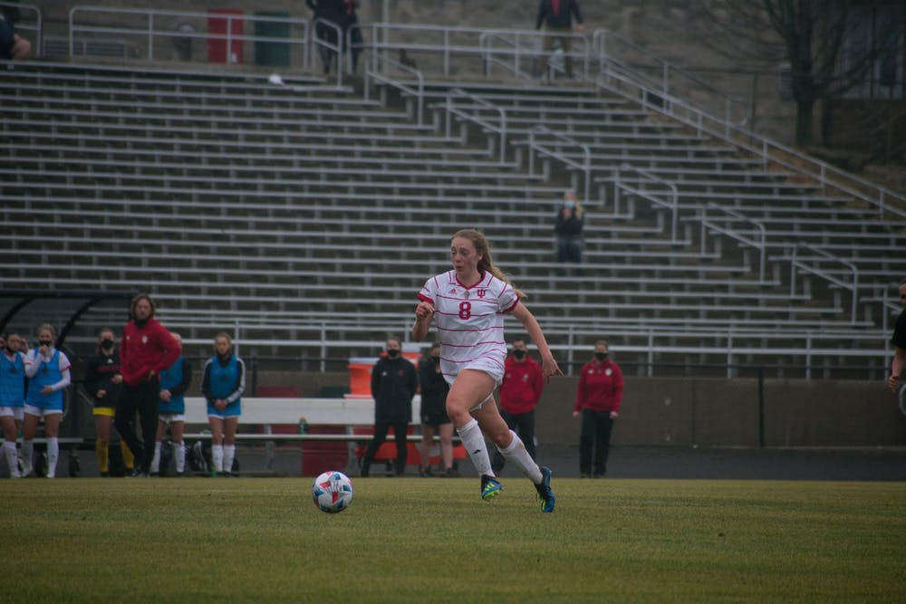 <p>Sophomore defender Avery Lockwood dribbles the ball at Bill Armstrong Stadium on Feb. 28 against Iowa. No. 24 IU women&#x27;s soccer fell 2-1 to No. 13 Penn State on Thursday.</p>