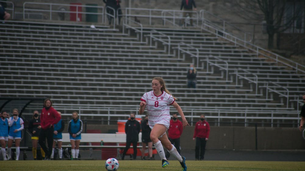 Sophomore defender Avery Lockwood dribbles the ball at Bill Armstrong Stadium on Feb. 28 against Iowa. No. 24 IU women's soccer fell 2-1 to No. 13 Penn State on Thursday.