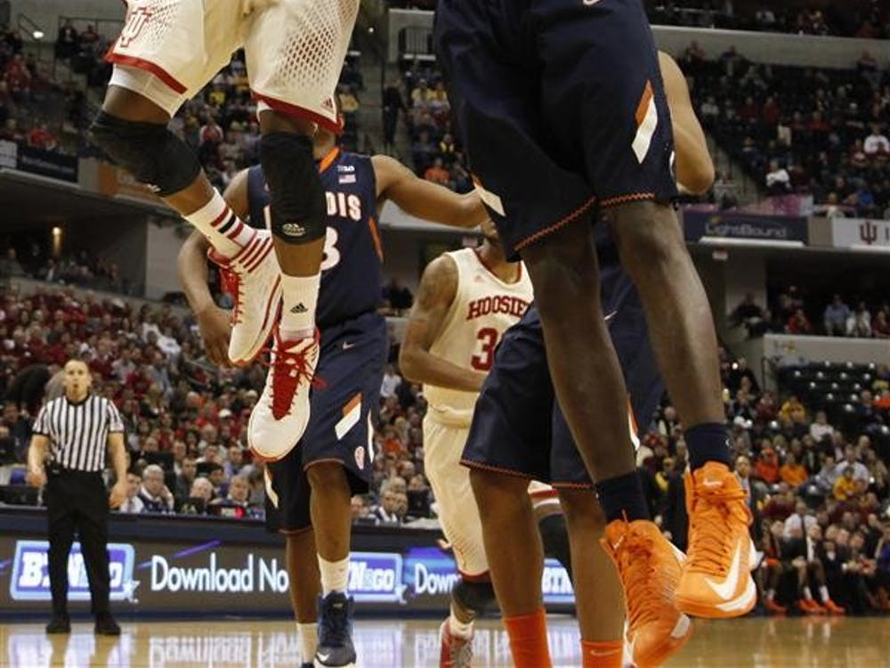 Yogi Ferrell goes for two during the Hoosiers matchup against the Illini on Thursday at Bankers Life Fieldhouse. Illinois won 64-54.