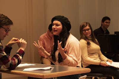 "Junior Kari Novilla talks to her co-actors Jan. 22 in Ford-Crawford Hall. Novilla plays the character Luna in ""Cinderella: Where Are My Backup Singers?"""