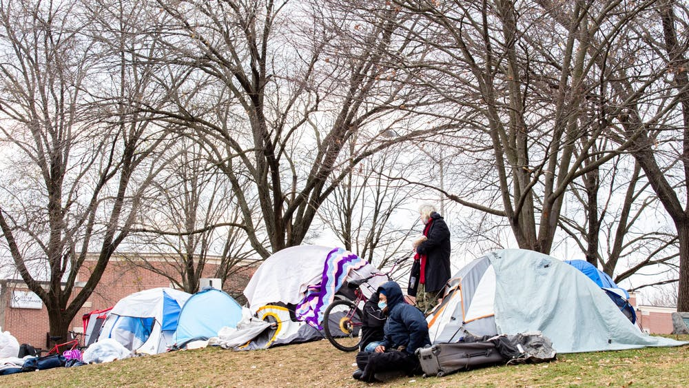 Tents stand Dec. 8, 2020, in Seminary Park. Based on overwhelming feedback from members, the Greater Bloomington Chamber of Commerce opposed a proposed Bloomington City Council Ordinance that would expand protections for homeless encampments.
