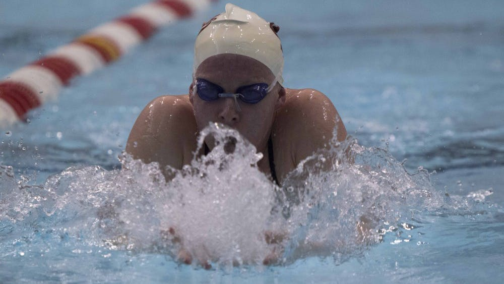 Freshman Lilly King practices breastroke Dec. 7, 2015 at the Counsilman-Bilingsley Aquatic Center.