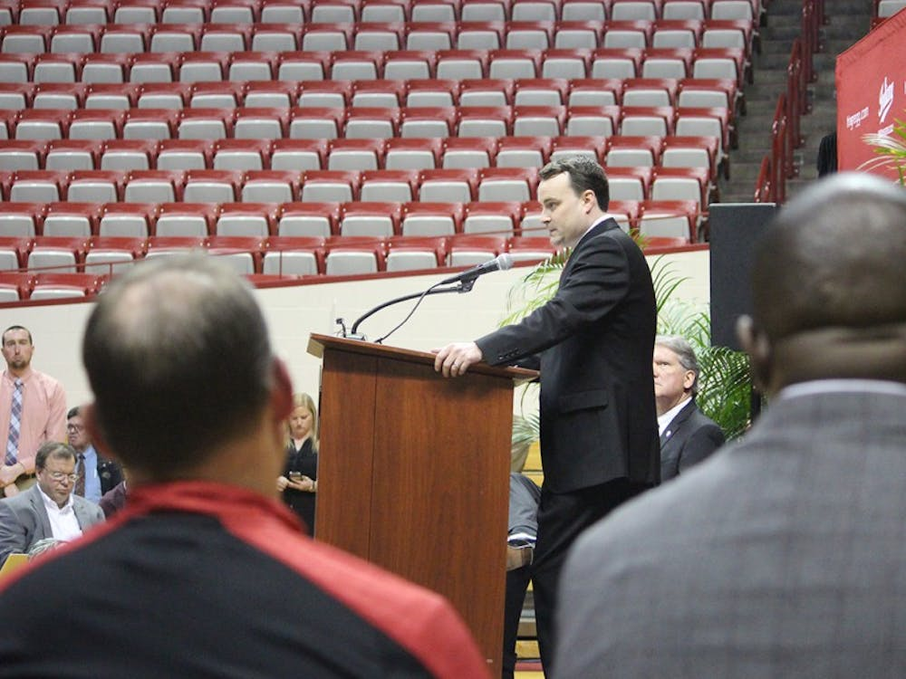 IU head football coach Tom Allen looks on as new men's basketball coach Archie Miller speaks. Allen and Miller will both have their first full seasons as head coaches of their programs in 2017.