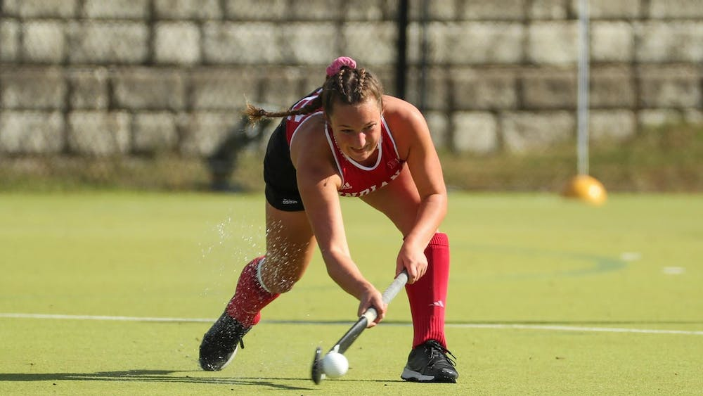 Then-sophomore midfielder Mary Kate Kesler hits the ball Oct. 18, 2019, at the IU Field Hockey Complex. Indiana plays Iowa and the University of Richmond this weekend.