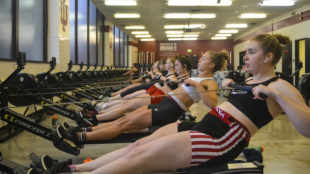 The IU women's rowing team practices Feb. 12 in Simon Skodjt Assembly Hall. To prepare for their competitions, the team uses indoor rowing machines called ergometers.