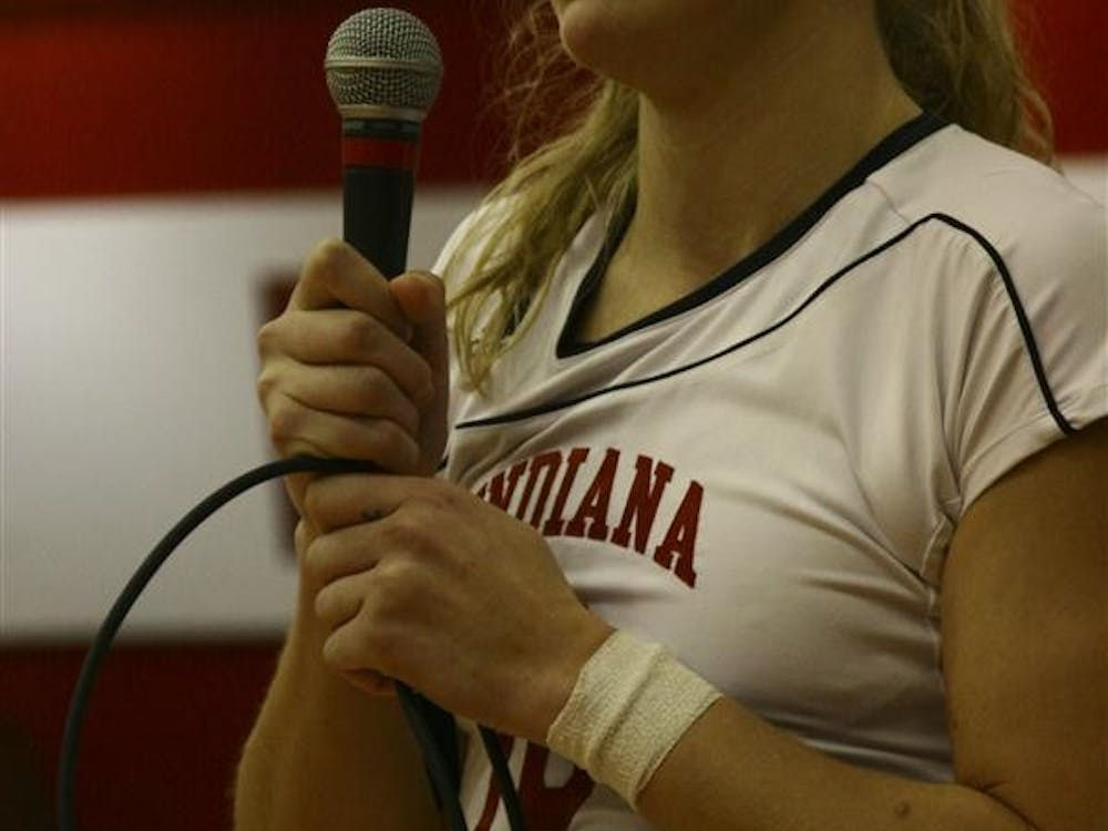 Ashley Benson addresses the crowd during the senior night festivities on Saturday in University Gym.  Benson was honored as the best IU Volleyball player on record leading in both all-time blocks and hitting efficiency.