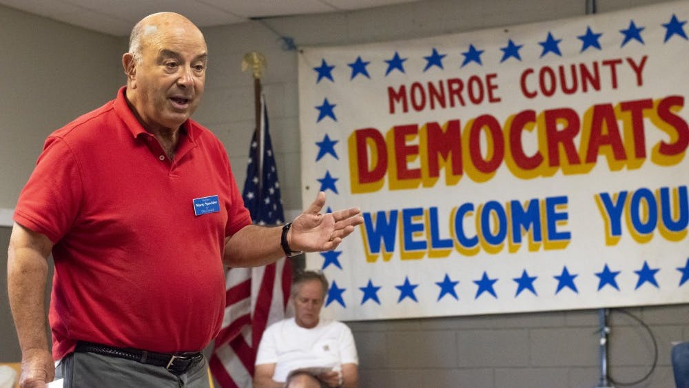 Bloomington Township board member Marty Spechler makes his statement during a Monroe Country Democratic Party information meeting Aug. 26 at the headquarters for the Monroe County Democratic Party.