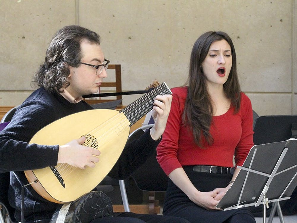 Musicians perform historic Elizabethan love ballads in the IU Art Museum atrium as part of the HeART Valentine's Day celebration.