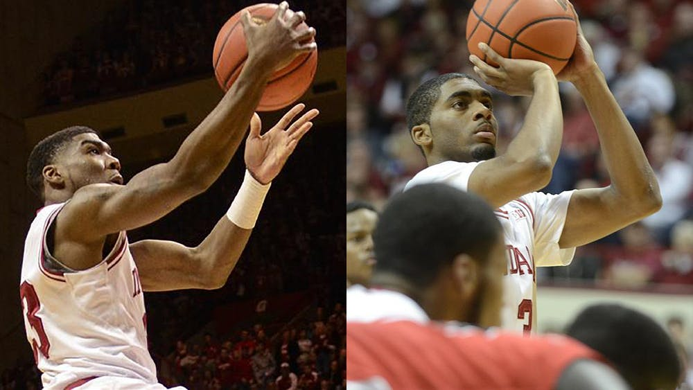At left, then-sophomore guard Remy Abell reaches to score a basket during IU's 83-55 win against Purdue on Feb. 16, 2013, at Assembly Hall. At right, then-junior guard Maurice Creek shoots a free throw during the Hoosiers' 101-53 victory against Ball State on Nov. 25, 2012, at Assembly Hall. The pair of former players has reunited on The Basketball Tournament team Sideline Cancer and will take on four-time champions Overseas Elite at 6 p.m. Sunday.