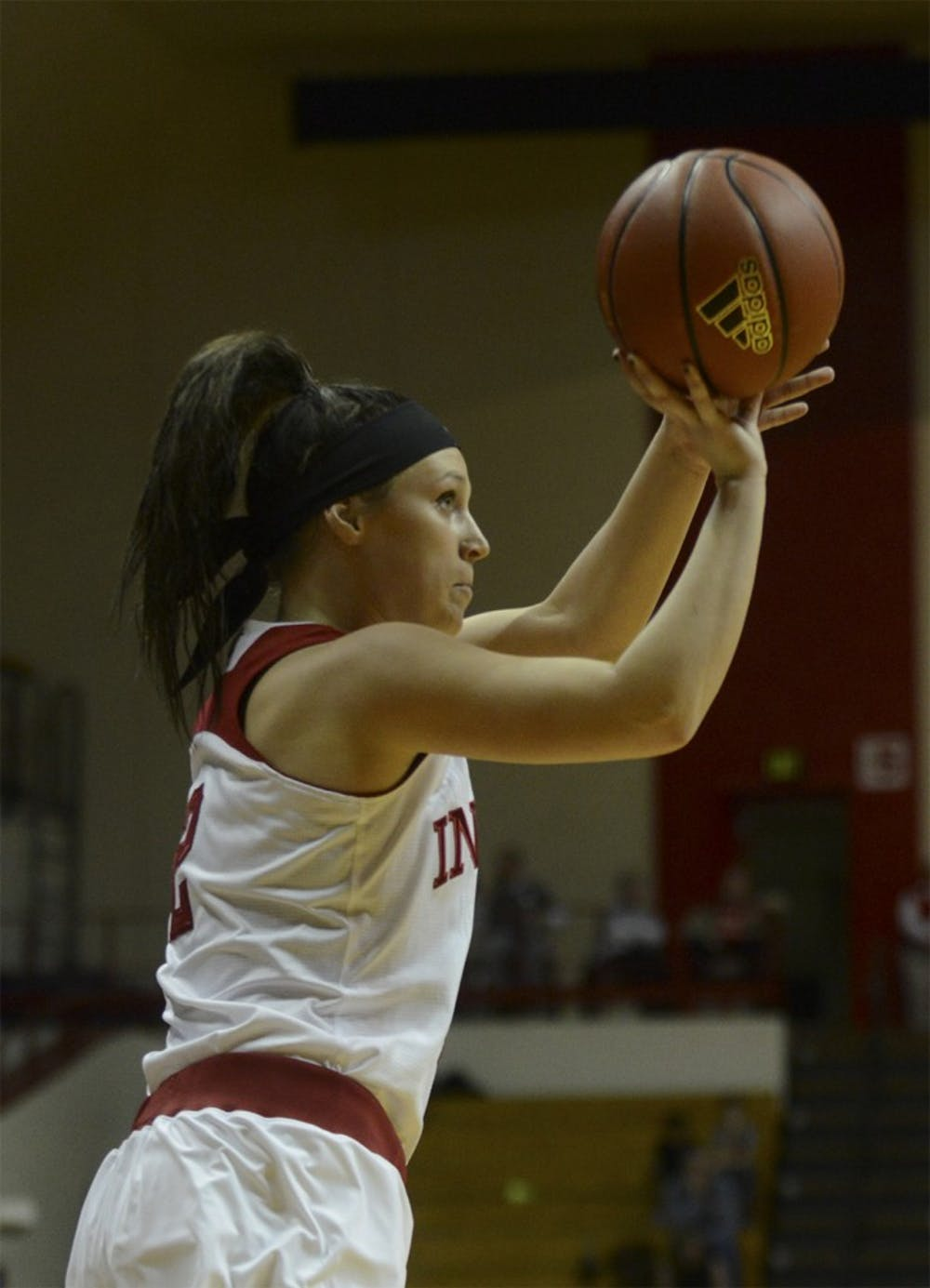 Sophomore guard Jess Walter shoots a three during the game against Illinois on Wednesday at Assembly Hall.
