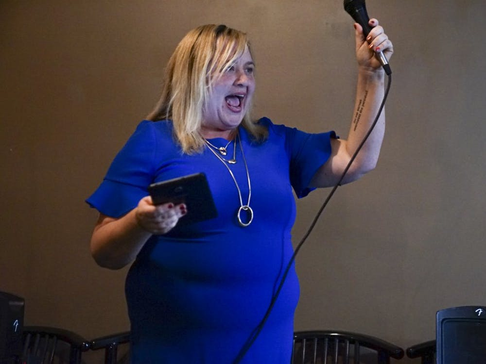 Amanda Barge announces her decision to run for mayor Jan. 22 in Upland Brewing Company. Barge, vice president of the Monroe County Commissioners, will run against the current mayor, John Hamilton.
