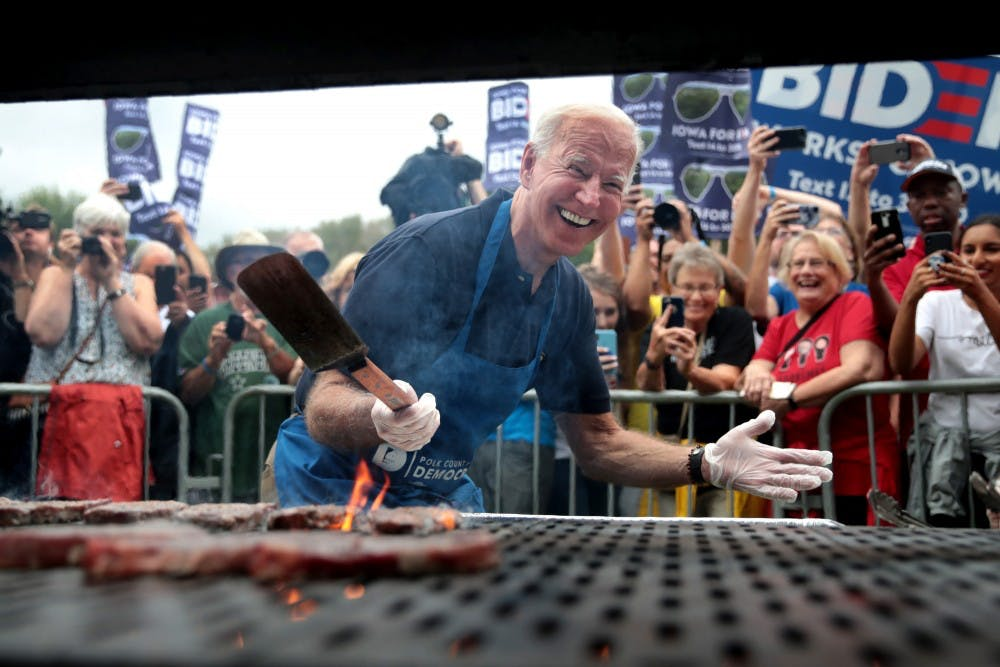 <p>Democratic presidential candidate and former Vice President Joe Biden works the grill at the Polk County Democrats&#x27; Steak Fry on Sept. 21 in Des Moines, Iowa. President Trumps asked the Ukrainian president to investigate Hunter Biden, the son of former Vice President Joe Biden. </p>