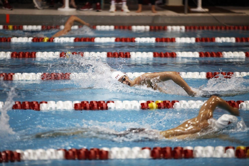 <p>Then-freshman Michael Brinegar swims the 1650 yard freestyle Nov. 17, 2018, at Counsilman-Billingsley Aquatic Center. Brinegar finished 17th in both the 800m and 1500m freestyle at the Tokyo Olympics. </p>