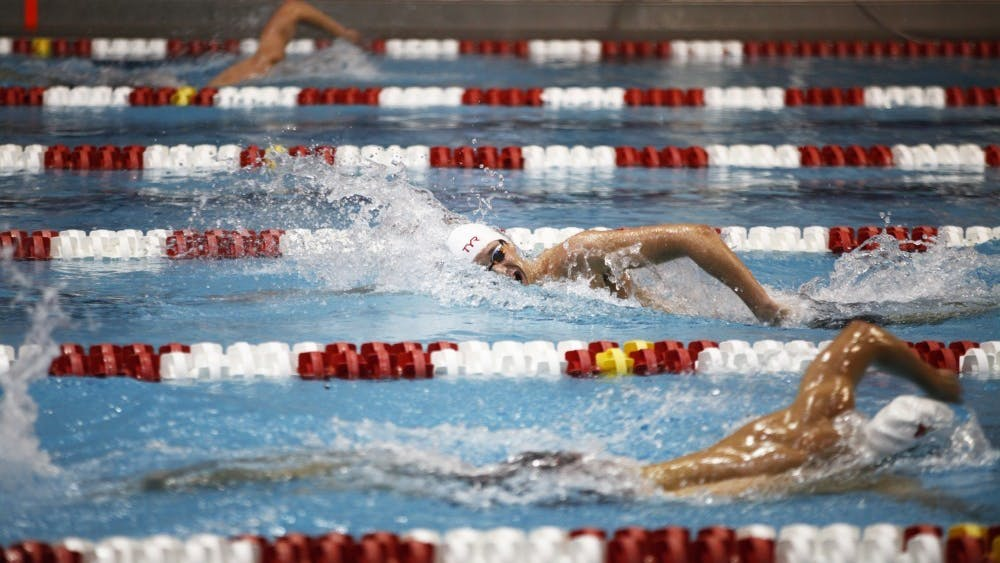 Then-freshman Michael Brinegar swims the 1650 yard freestyle Nov. 17, 2018, at Counsilman-Billingsley Aquatic Center. Brinegar finished 17th in both the 800m and 1500m freestyle at the Tokyo Olympics.