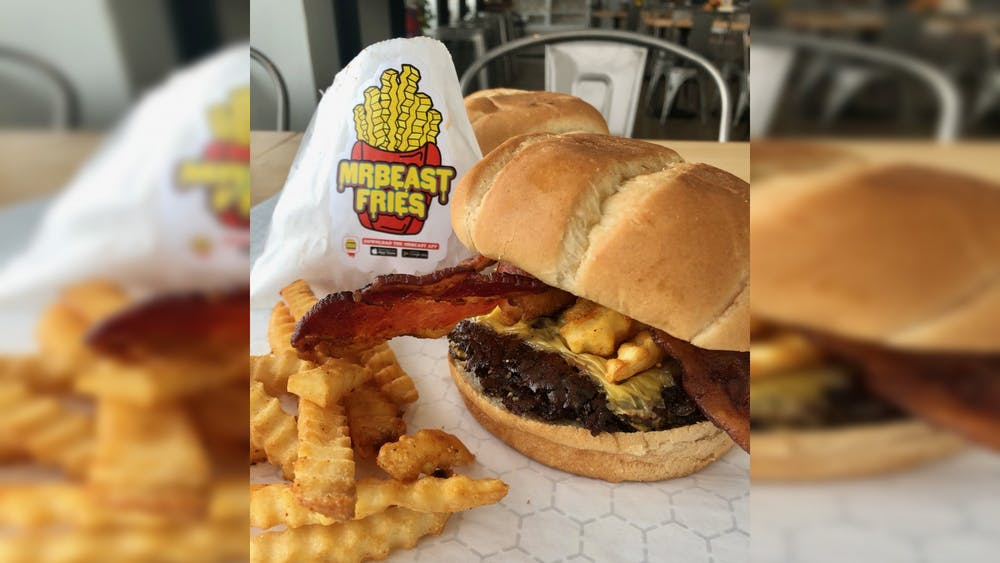 A MrBeast Burger meal is pictured. MrBeast Burger is a new restaurant that operates as delivery-only through the MrBeast Burger app or through third-party delivery services.