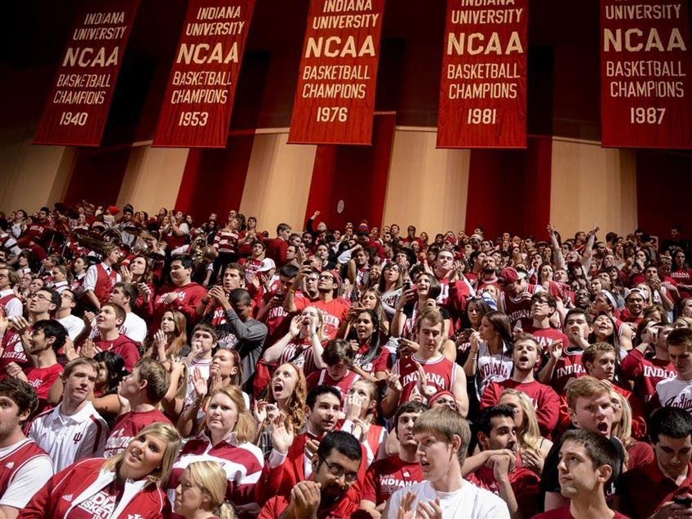 IU fans cheer before the start of the game at Assembly Hall.