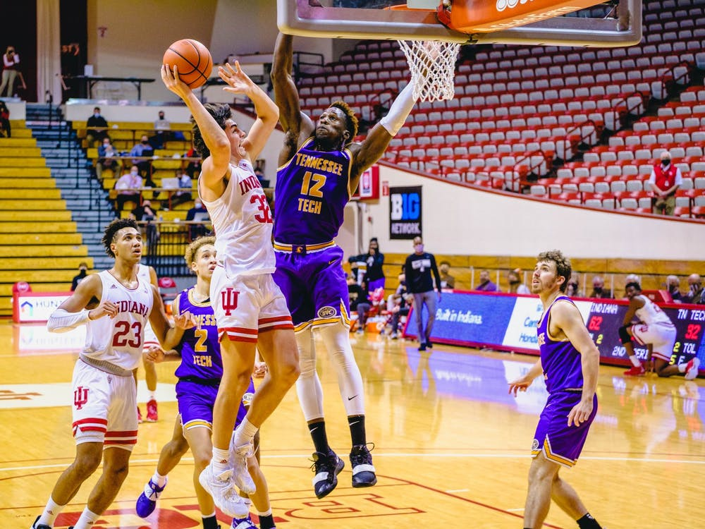Freshman guard Trey Galloway tries to get past the Tennessee Tech defense and score Nov. 25 at Simon Skjodt Assembly Hall. Galloway scored 13 points in the victory over Tennessee Tech.