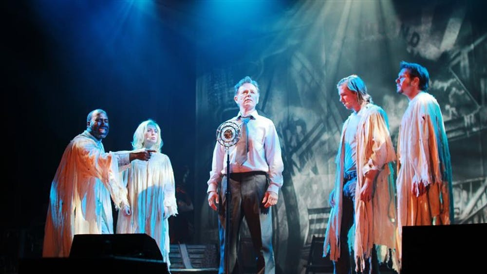 """Bruce Greenwood sings """"What Kind of Man"""" during a Tuesday rehearsal at the IU Auditorium. Ghost Brothers' musical score was composed by Bloomington native John Mellencamp."""