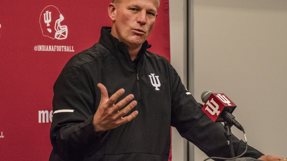 IU football offensive coordinator Kalen DeBoer explains his vision for IU's offense during a press conference Jan. 25 at Memorial Stadium. DeBoer spent last season as the offensive coordinator at California State University, Fresno.