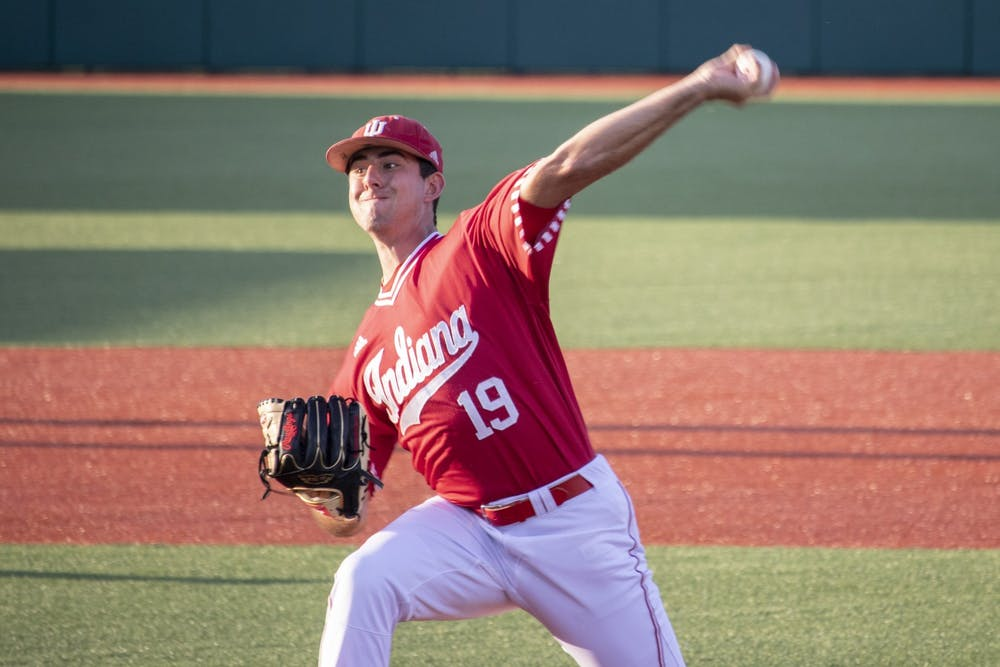 <p>Then-sophomore left-handed pitcher Tommy Sommer pitches the ball against the University of Louisville on May 14, 2019, at Bart Kaufman Field. The Hoosiers lost 3-4 Sunday to the Ohio State Buckeyes.</p>